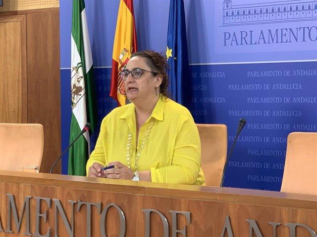 La portavoz adjunta del grupo parlamentario Adelante Andalucía, Ángela Aguilera, en rueda de prensa. Foto de archivo