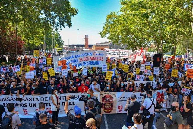Manifestación de los trabajadores de Nissan en Madrid.