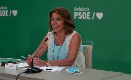 """Susana Díaz ve """"una broma de mal gusto"""" que Moreno """"anuncie más parados y su receta sea ampliar altos cargos"""" en Junta"""