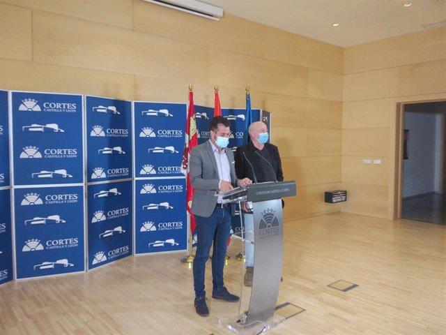 El secretario general del PSOE de Castilla y León y portavoz socialista en las Cortes, Luis Tudanca, (i) junto al portavoz de las plataformas en defensa de la sanidad pública de CyL, Luis Ocampo.