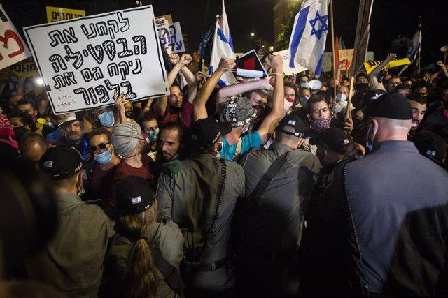 Manifestació contra el primer ministre d'Israel, Benjamin Netanyahu, a Jerusalem