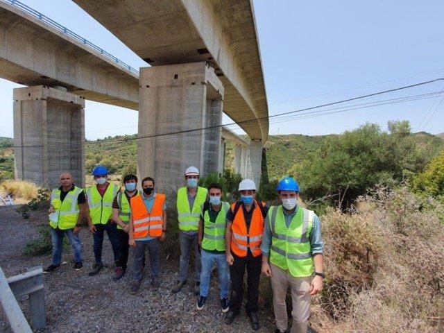 Foto de la visita realizada hace unos días al viaducto de la autopista Ausol, en el marco del proyecto Piloting.