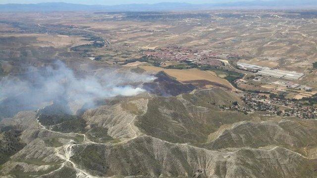 El incendio de María de Huerva declarado este miércoles, 15 de julio, afecta a una superficie cercana a las 70 hectáreas.