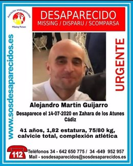 Cartel alertando de la desaparición de Alejandro Martín