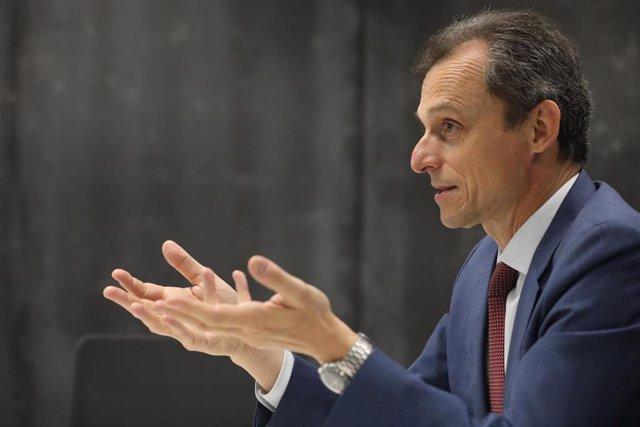 El ministro de Ciencia e Innovación durante una entrevista para Europa Press en la sede del ministerio, en Madrid