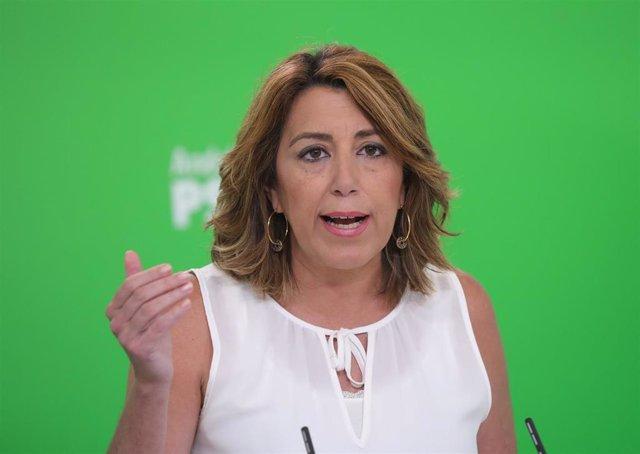 La secretaria general del PSOE-A, Susana Díaz, durante la rueda de prensa