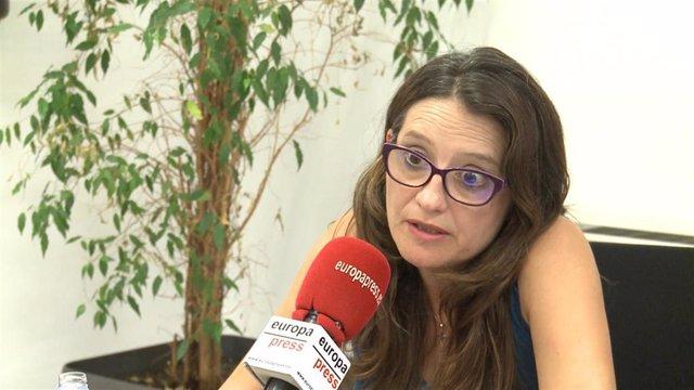 Oltra en una entrevista con Europa Press