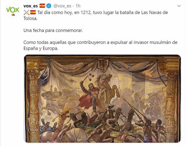 Imagen del tweet de Vox recordando el aniversario de la batalla de Las Navas de Tolosa