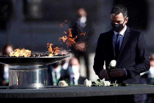 El presidente del Gobierno, Pedro Sánchez, en el homenaje de Estado a las víctimas de coronavirus
