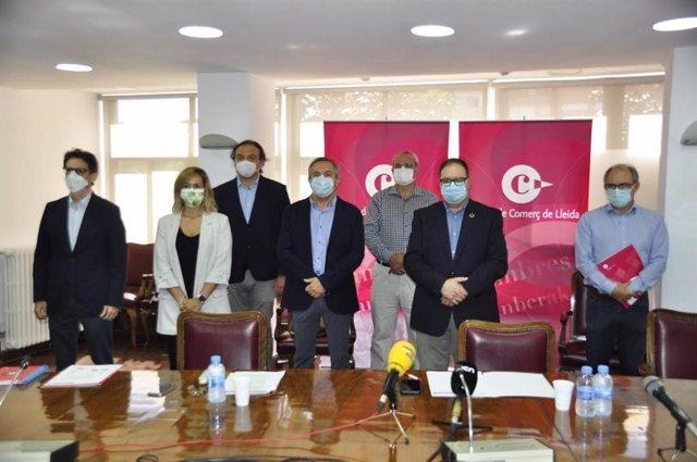 Representantes de organizaciones empresariales de Lleida en la Cámara de Comercio