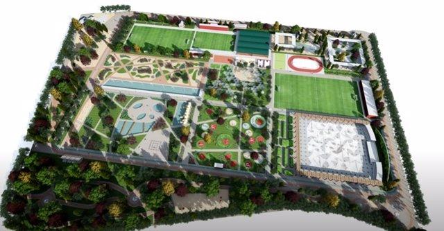 Infografía del futuro parque en el tercer depósito del Canal de Isabel II en el distrito de Chamberí.