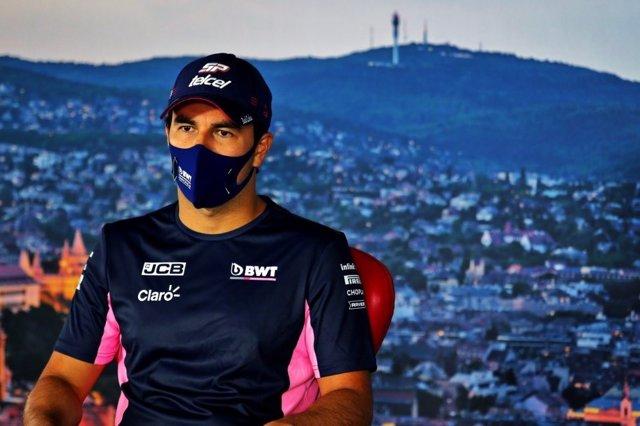 El piloto de Fórmula 1 Sergio Pérez (Racing Point) en rueda de prensa antes del GP Hungría 2020