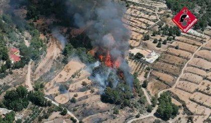Cincuenta efectivos y dos helicópteros trabajan para extinguir el incendio de Monòver