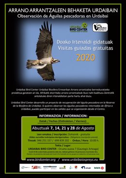 Cartel de salidas para observar águilas pescadoras del Urdaibai Bird Center.