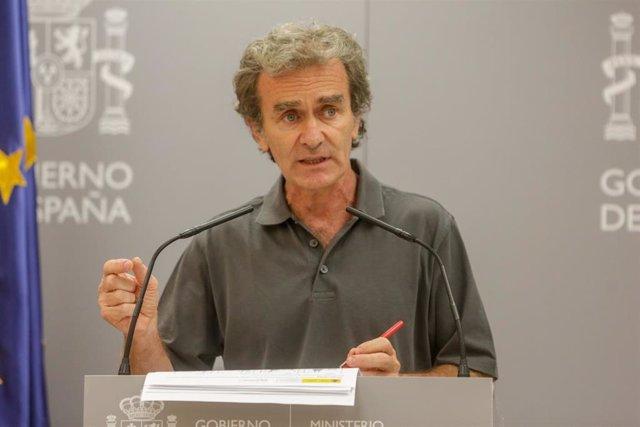 El director del Centro de Coordinación de Alertas y Emergencias Sanitarias, Fernando Simón, interviene en una rueda de prensa en el Ministerio de Sanidad, en Madrid (España), a 13 de julio de 2020.