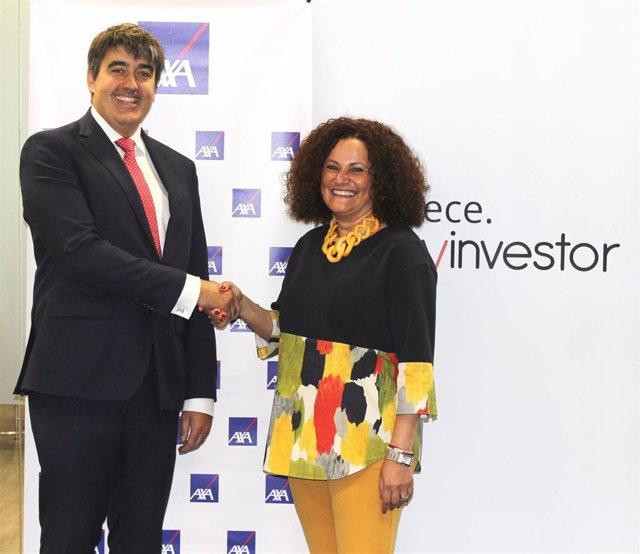 Carlo Aso, consejero delegado de Andbank España, y Olga Sánchez, consejera delegada de AXA España.