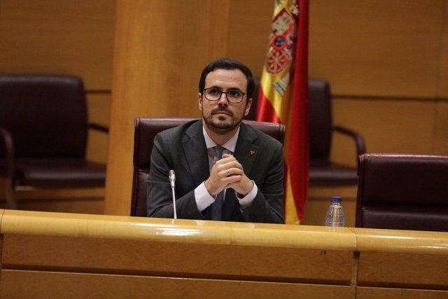 El ministro de Consumo, Alberto Garzón, en una comparecencia en el Senado