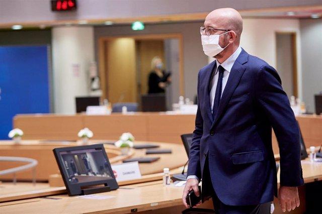 El presidente del Consejo europeo, Charles Michel, con mascarilla.
