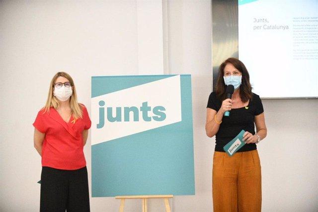 Elsa Artadi i Marta Madrenas (JxCat) en una presentació telemtica