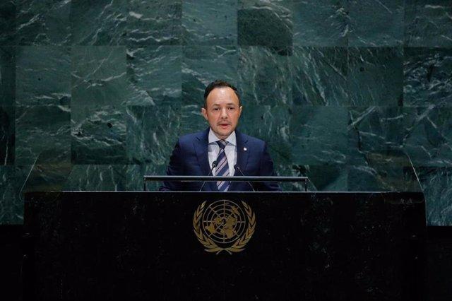 El cap de Govern d'Andorra, Xavier Espot, durant una intervenció davant l'Assemblea General de l'ONU