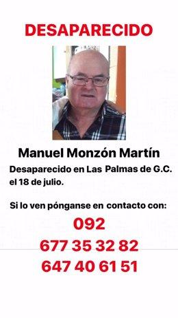 Imagen de Manuel Monzón Martín, junto a los teléfonos de contacto