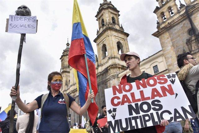 Imagen de una protesta por los asesinatos de líderes sociales en Colombia.