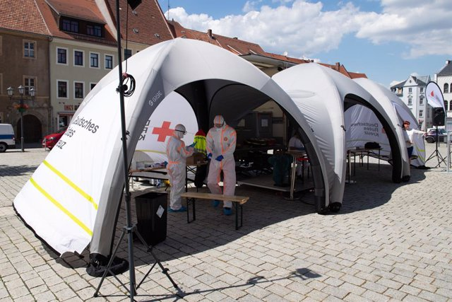Coronavirus mobile test station in Germany