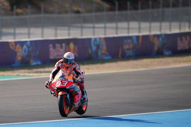 El pilot de MotoGP Marc Márquez (Repsol Honda) en la sessió de qualificació de MotoGP del GP Espanya 2020, a Jerez