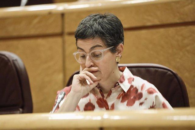 La ministra d'Afers Exteriors, Unió Europea i Cooperació, Arancha González Laya, en una sessió de control al Senat. Madrid (Espanya) 14 de juliol del 2020.