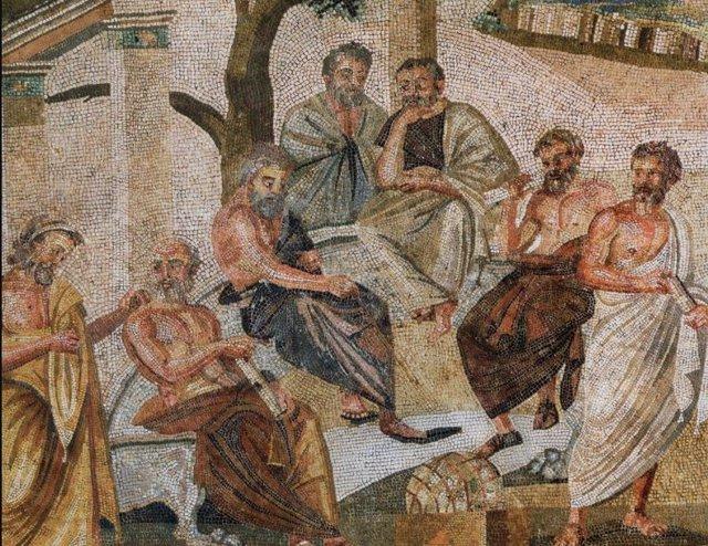 Mosaico del siglo I hallado en Pompeya que representa a la Academia de Platón.