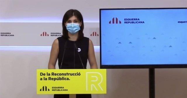 La secretària general adjunta i portaveu d'ERC, Marta Vilalta, en una roda de premsa telemàtica.
