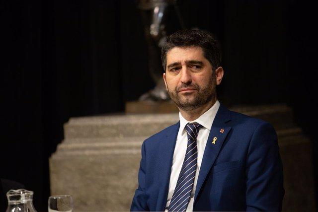 El conseller de Polítiques Digitals i Administracions Públiques, Jordi Puigneró, durant la presentació de l'Estratègia d'Intel·ligència Artificial de Catalunya. Barcelona/Catalunya (Espanya) 18 de febrer del 2020.