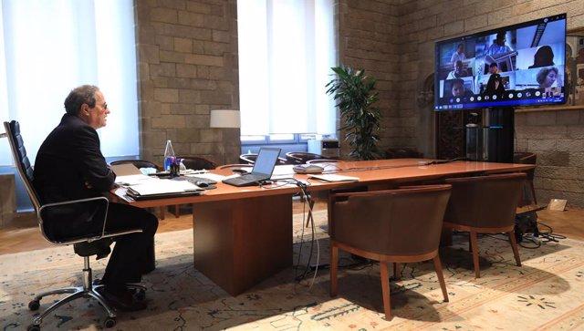 El president Quim Torra, reunit telemàticament amb alcaldes de la Noguera