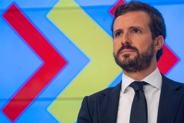 El líder del PP, Pablo Casado, preside la re reunión del comité de dirección del PP.