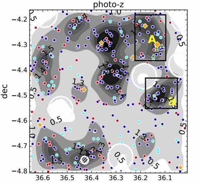 Cientos de galaxias candidatas identificadas en un protocúmulo distante