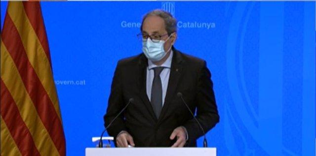 El president de la Generalitat, Quim Torra, en roda de premsa després del Consell Executiu.