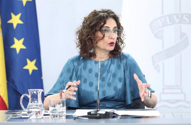 La ministra portavoz, María Jesús Montero, comparece en rueda de prensa posterior al Consejo de Ministros celebrado en Moncloa, Madrid (España), a 14 de julio de 2020.