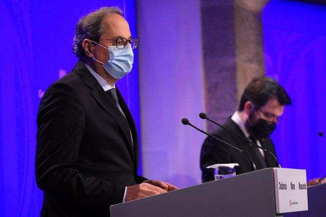 El president de la Generalitat, Quim Torra, i el vicepresident, Pere Aragons.