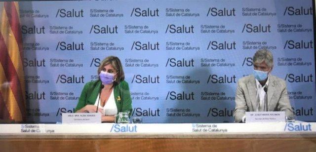El nuevo secretario de la Agència de Salut Pública de Catalunya, Josep Maria Argimón, y la consellera de Salud, Alba Vergés