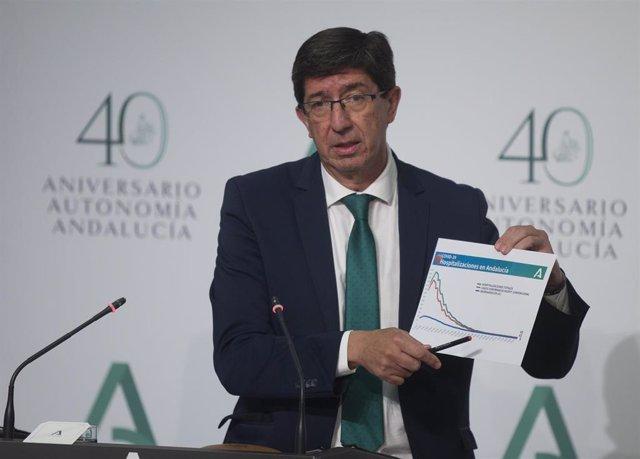 El vicepresidente de la Junta de Andalucía, Juan Marín, durante su intervención en la rueda de prensa posterior a la reunión del Consejo de Gobierno. En el Palacio de San Telmo, Sevilla (Andalucía, España), a 21 de julio de 2020.
