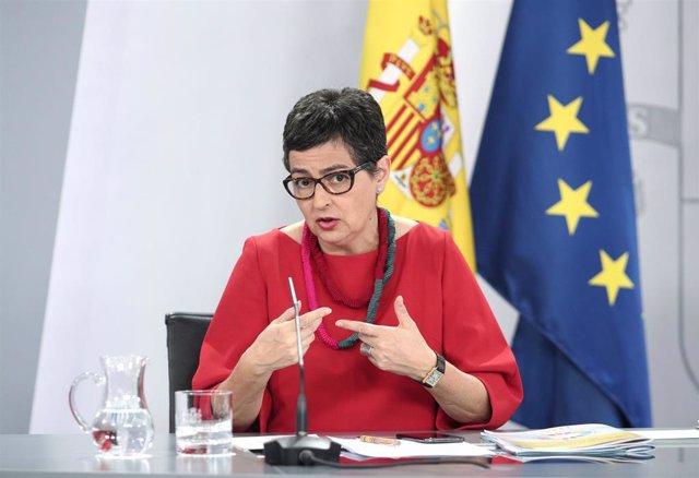 La ministra de Asuntos Exteriores, Unión Europea y Cooperación, Arantxa González Laya, interviene en rueda de prensa posterior al Consejo de Ministros de Moncloa, Madrid (España), a 21 de julio de 2020.