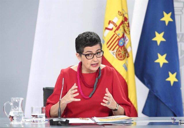 La ministra de Asuntos Exteriores, Unión Europea y Cooperación, Arancha González Laya, en rueda de prensa posterior al Consejo de Ministros en el Palacio de la Moncloa.