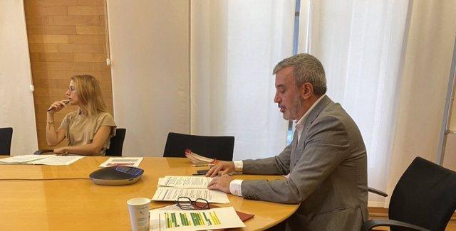 El primer tinent d'alcalde de Barcelona, Jaume Collboni, intervé en el seminari web sobre marca de ciutat 'Repensant la Marca de Ciutat en temps de Covid-19'.