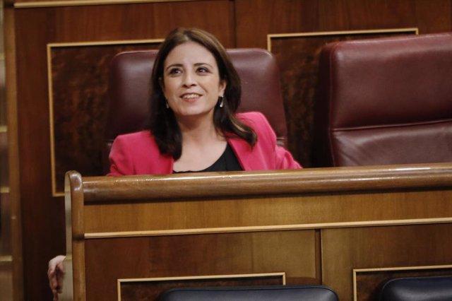 La portavoz parlamentaria del PSOE, Adriana Lastra, durante el último pleno ordinario de control al Gobierno en el Congreso de los Diputados antes del paréntesis estival, en Madrid (España), a 21 de julio de 2020.