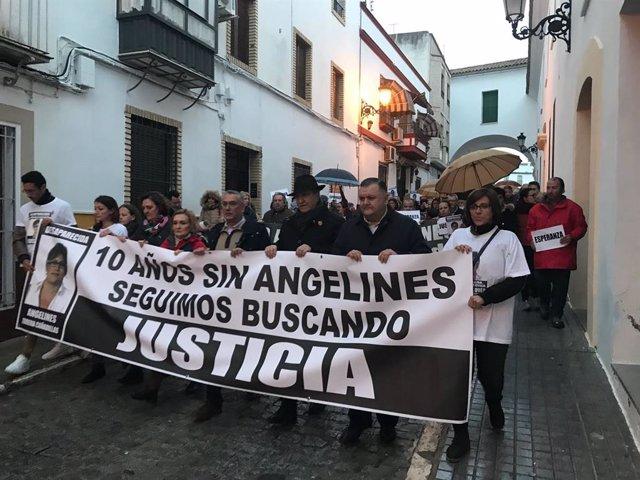 Manifestación celebrada en 2018 en Aguilar de la Frontera con motivo del décimo aniversario de la desaparición de Ángeles Zurera.