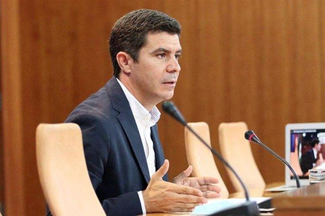 El portavoz parlamentario de Ciudadanos (Cs), Sergio Romero, en rueda de prensa
