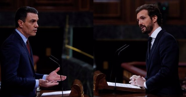 Montaje fotográfico del presidente del Gobierno, Pedro Sánchez, y del líder del PP, Pablo Casado, en el Congreso