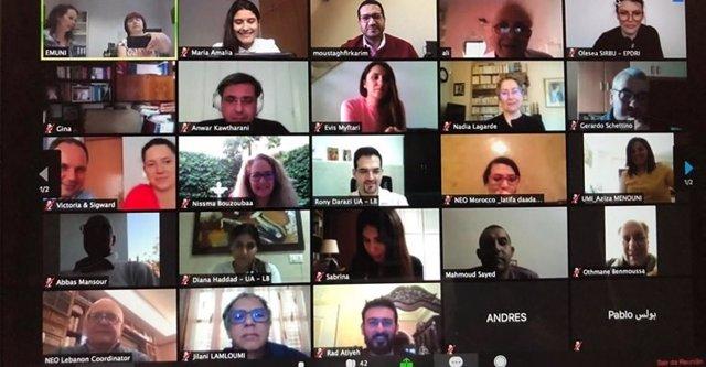Imagen de la reunión inaugural online del nuevo proyecto ERASMUS+KA2 CBHE 'MED2IaH'.