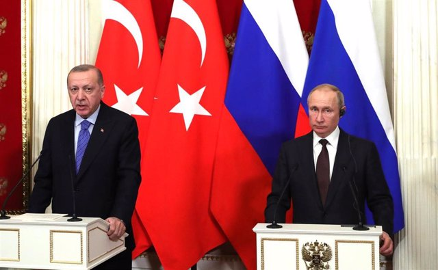 Los presidentes de Turquía y Rusia, Recep Tayyip Erdogan y Vladimir Putin, respectivamente