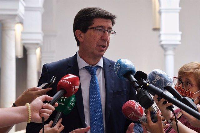 El vicepresidente de la Junta y consejero de Turismo, Juan Marín, este miércoles en declaraciones a los medios.